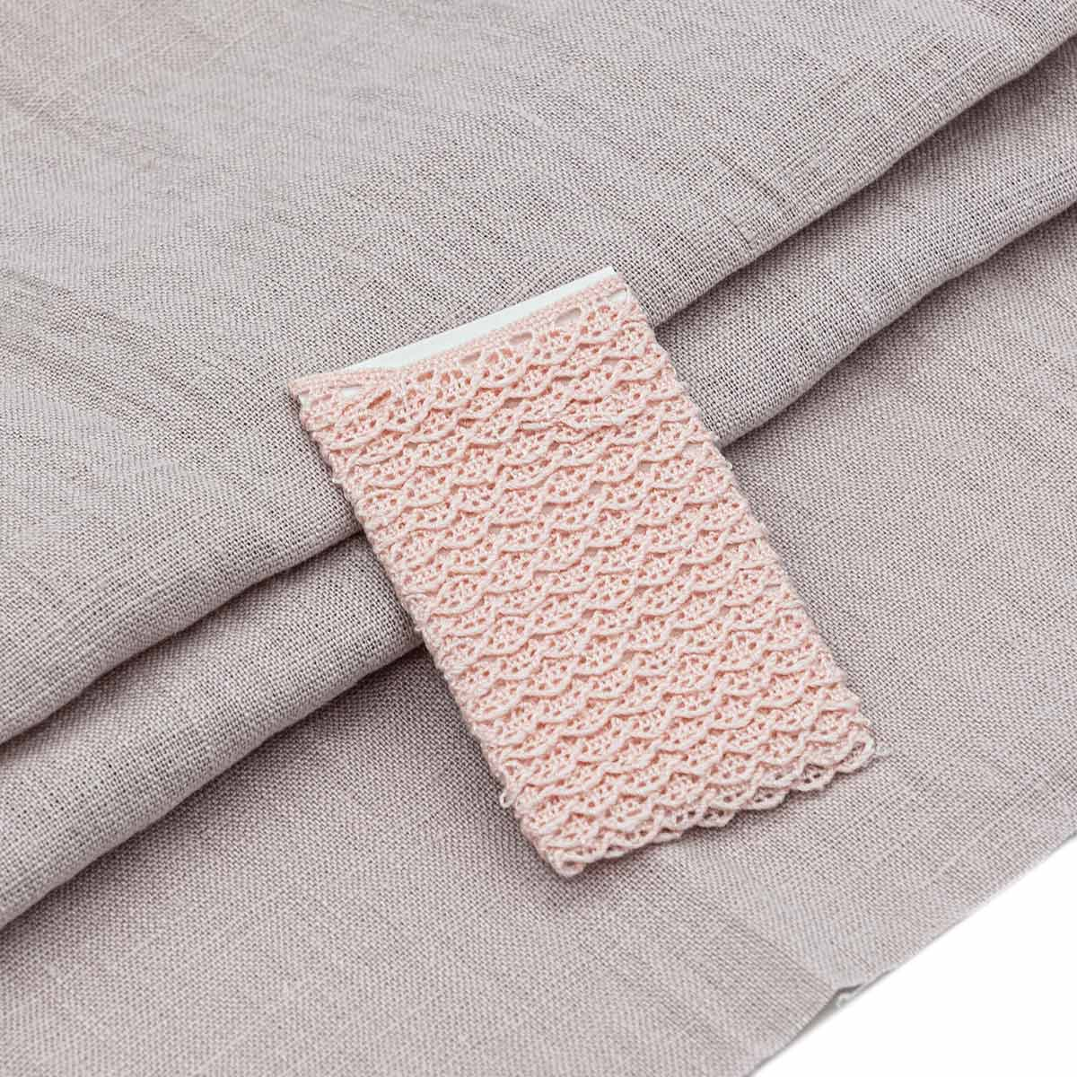 28957 Набор для творчеста 'Ткань лён с тесьмой ' (100% лен / 100%хб. 45*50см/ 2м), цв.п.роза+розовый