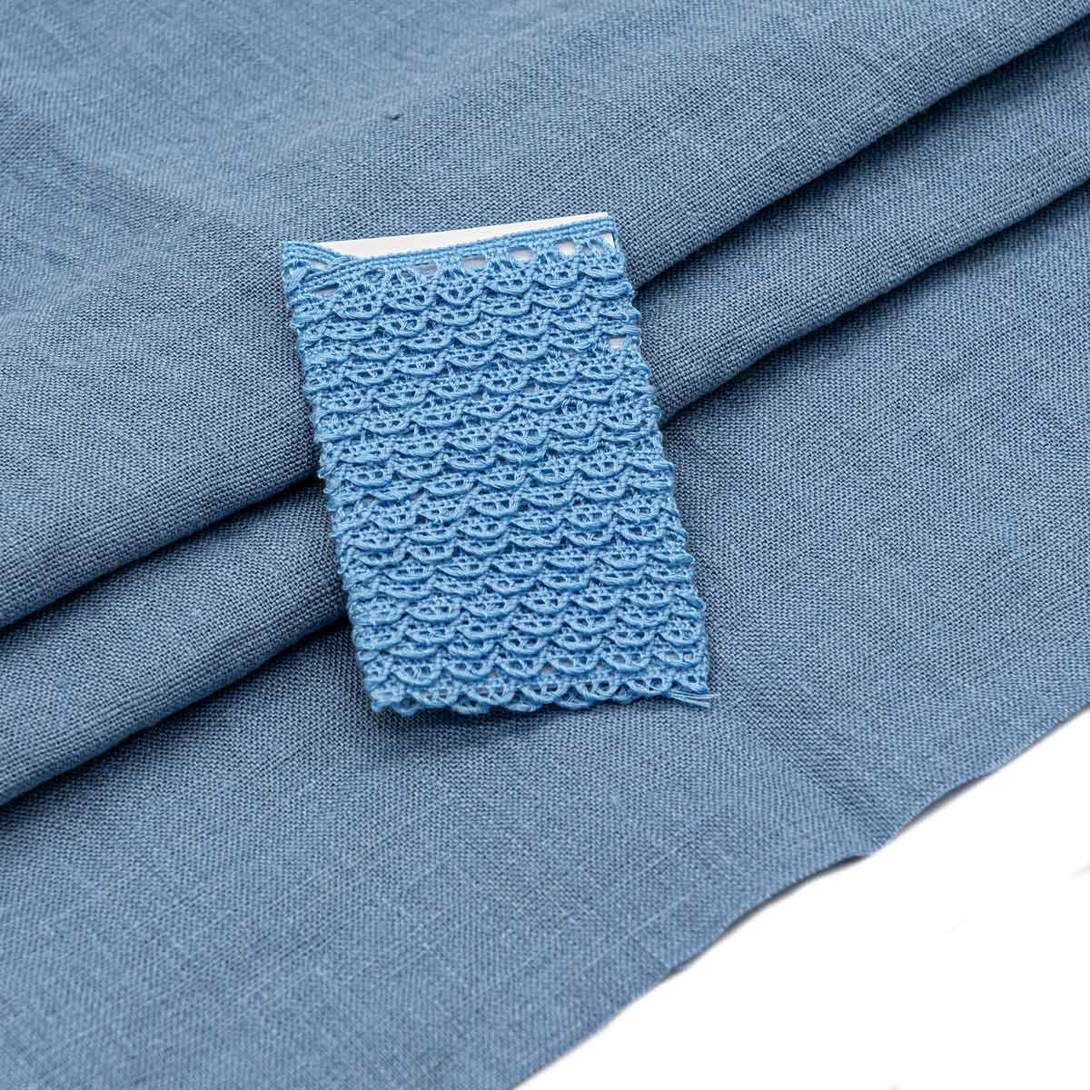 28957 Набор для творчеста 'Ткань лён с тесьмой ' (100% лен / 100%хб. 45*50см/ 2м), цв.сер.голубой+голубой