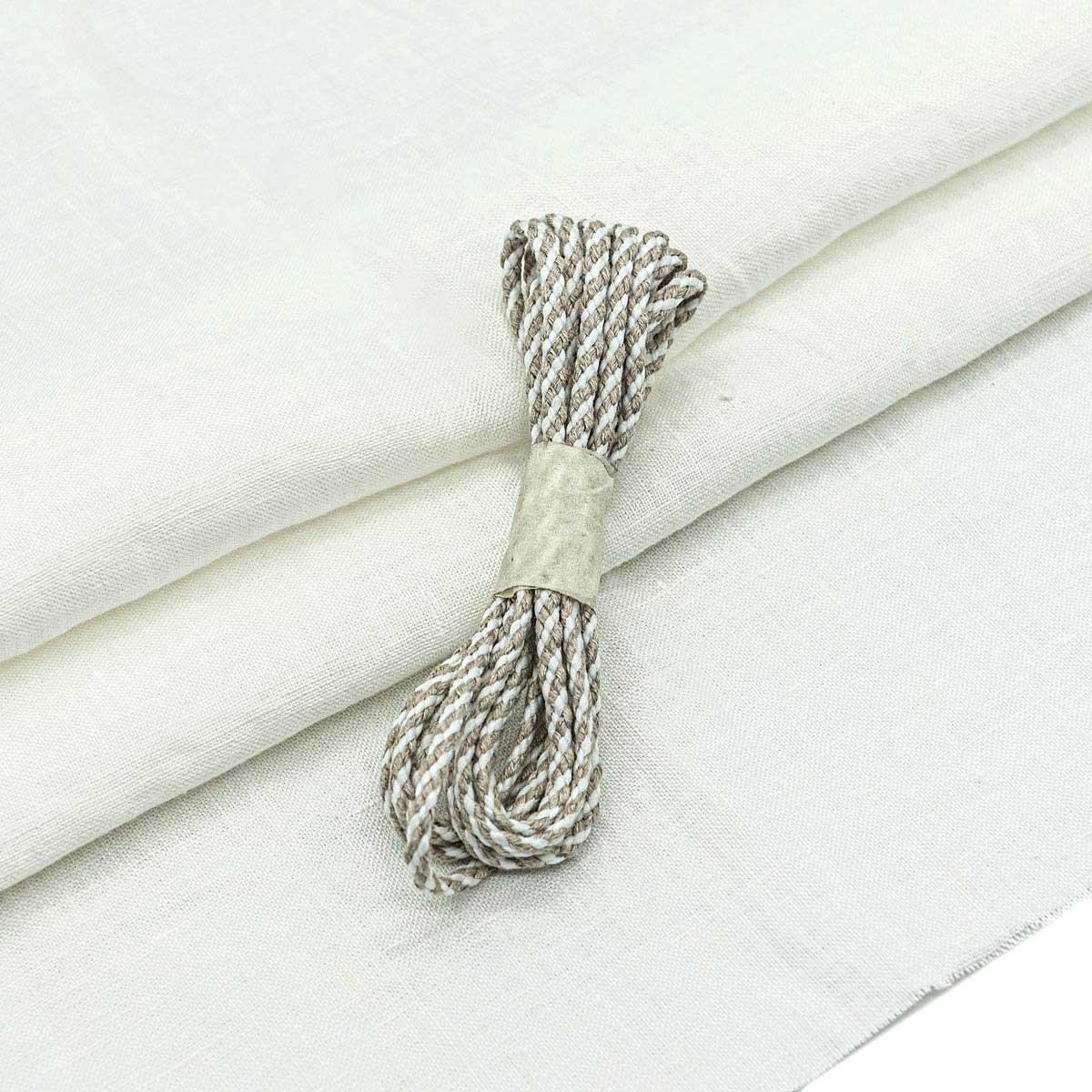 28961 Набор для творчеста 'Ткань лён со шнуром ' (100% лён / 100%хб. 45*50см/2м),цв.бел.+бел./натур
