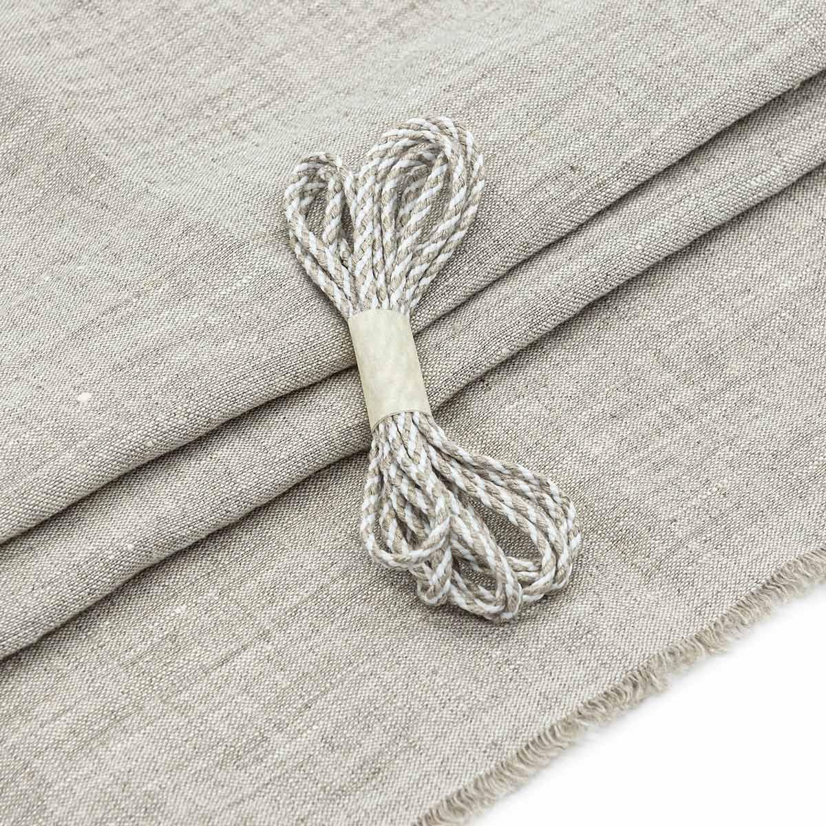 28961 Набор для творчеста 'Ткань лён со шнуром ' (100% лён / 100%хб. 45*50см/2м),цв.нат.серый.+бел./натур