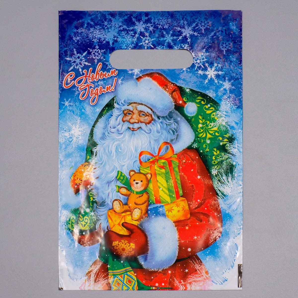 3856204 Пакет 'Новогодняя метель'. полиэтиленовый с вырубной ручкой. 20*30 см. 30 мкм.