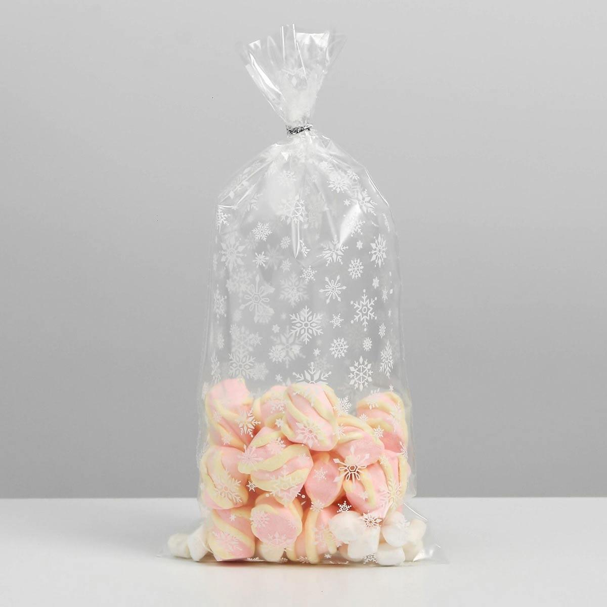 6831704 Пакет подарочный пластиковый 'Снежинки', 15*30 см