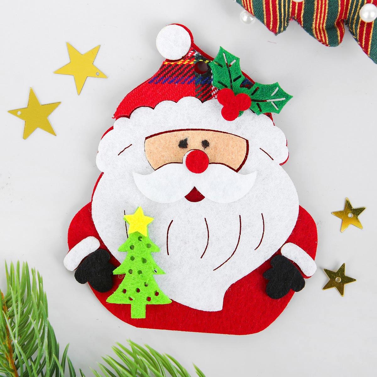 3555008 Набор для творчества - создай елочное украшение из фетра 'Дед мороз с елочкой'