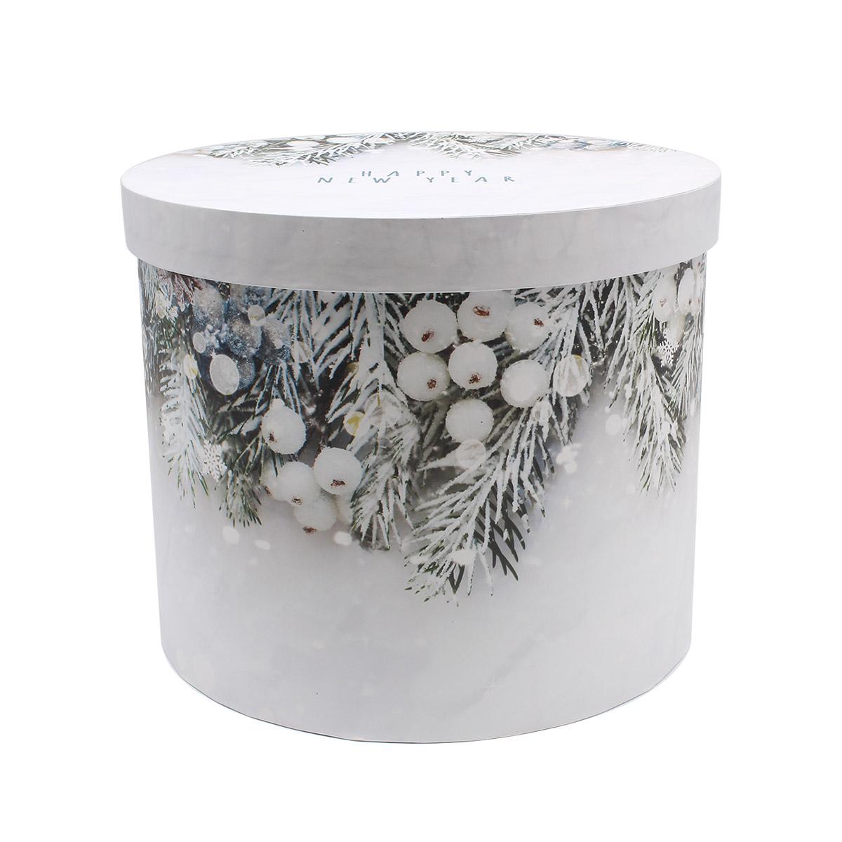 4371617 Круглая подарочная коробка 'Зимняя сказка', 15*18 см