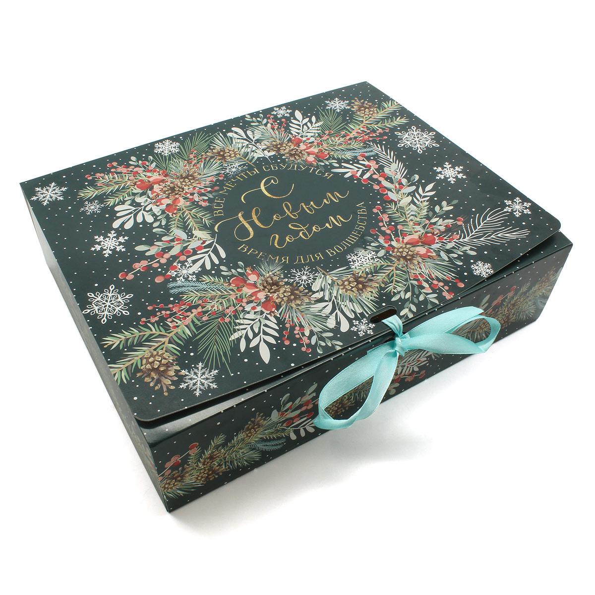 6919082 Складная коробка подарочная 'Новогодняя ботаника', 31*24,5*9 см