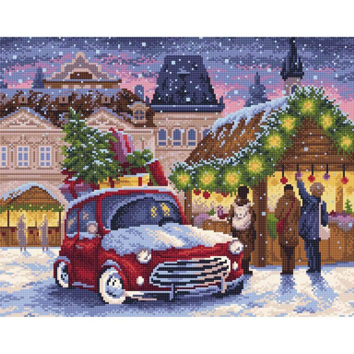 МС-007 Алмазная мозаика 'Рождественская ярмарка' 48*38см Brilliart