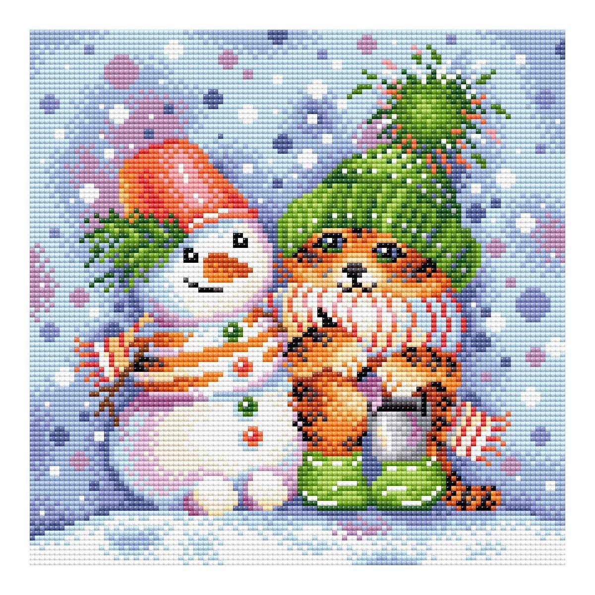 МС-098 Алмазная мозаика 'Полосатая зима' 27*27см Brilliart