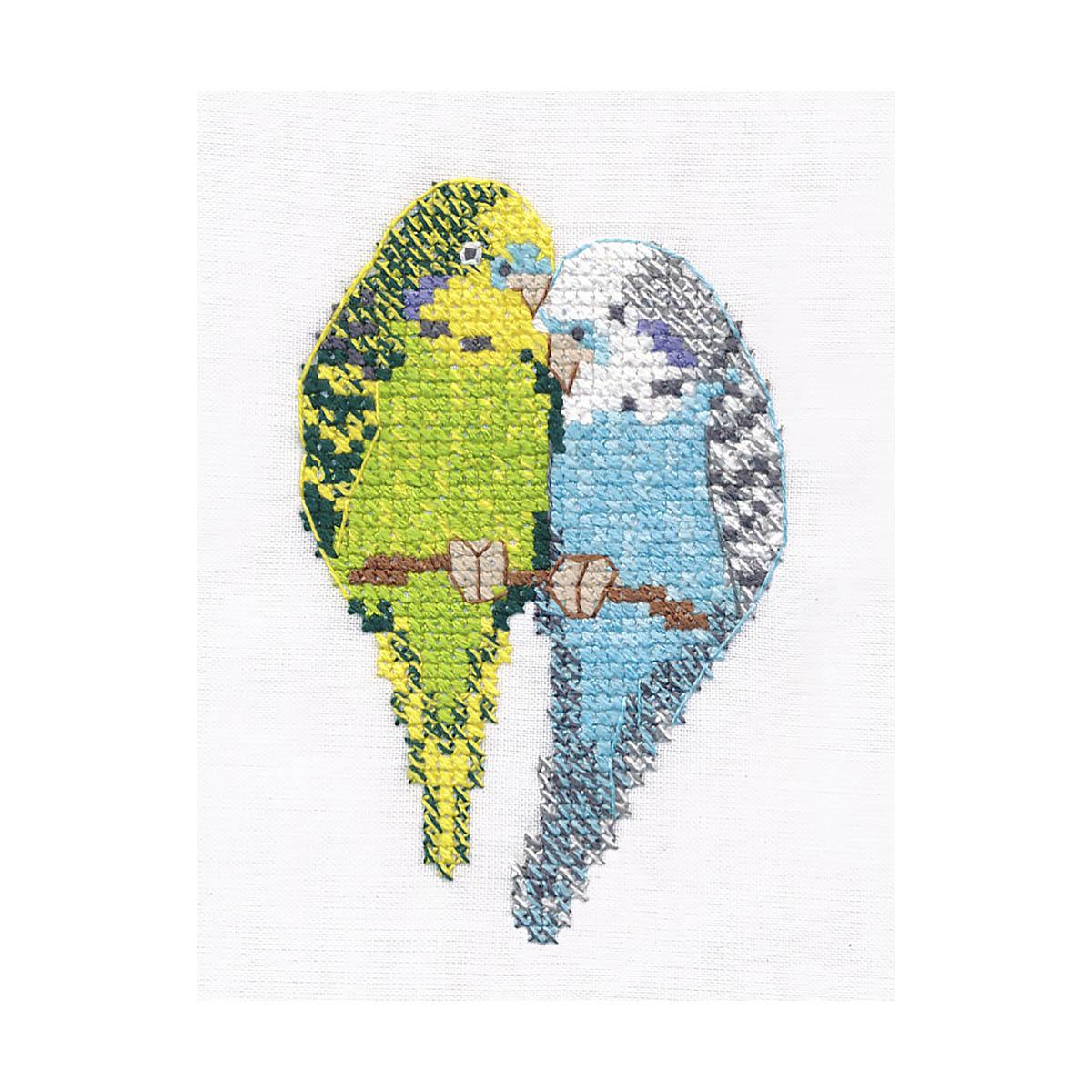 1396 Набор для вышивания ОВЕН 'Попугайчики' 6*9 см