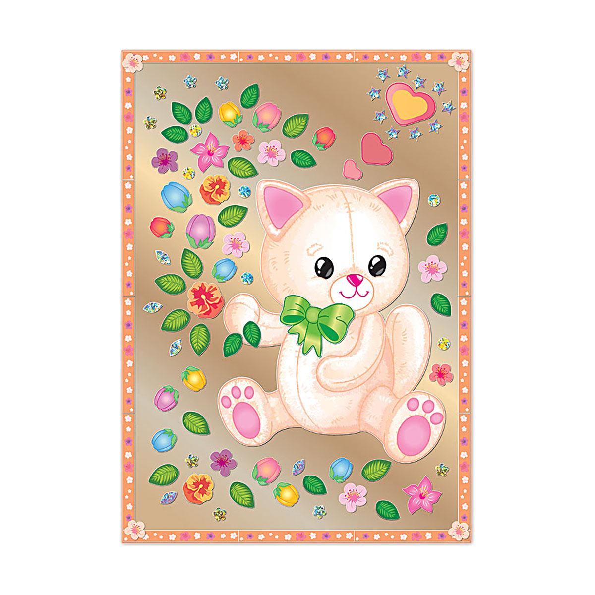 АС 43-240 Набор для изготовления картины 'Котик с цветами' (антистресс) 295*210 мм Клевер