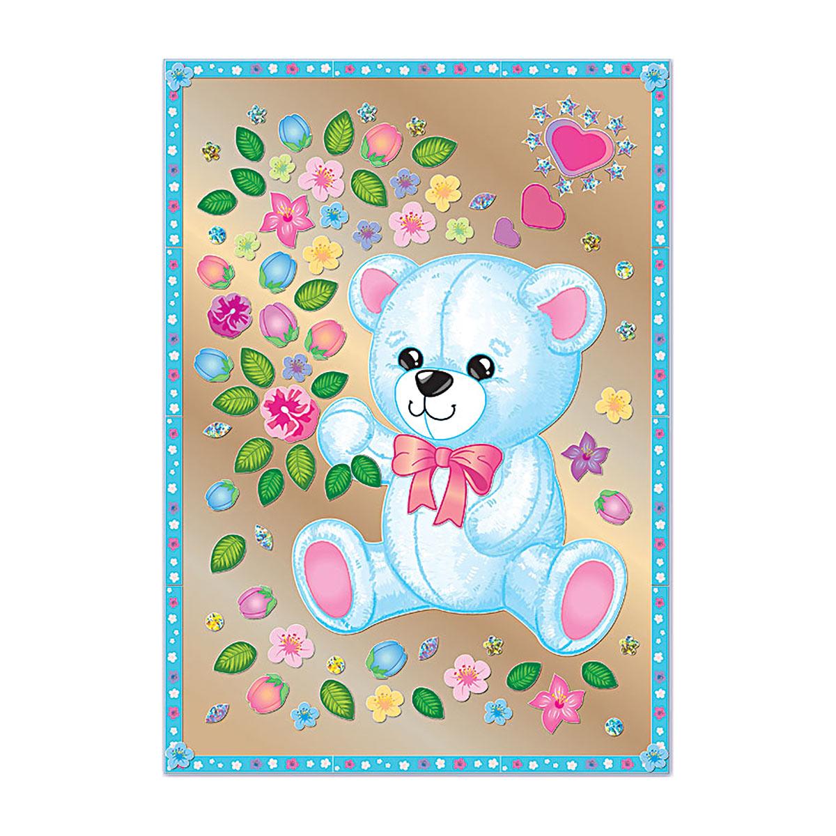АС 43-242 Набор для изготовления картины 'Мишка с цветами' (антистресс) 295*210 мм Клевер