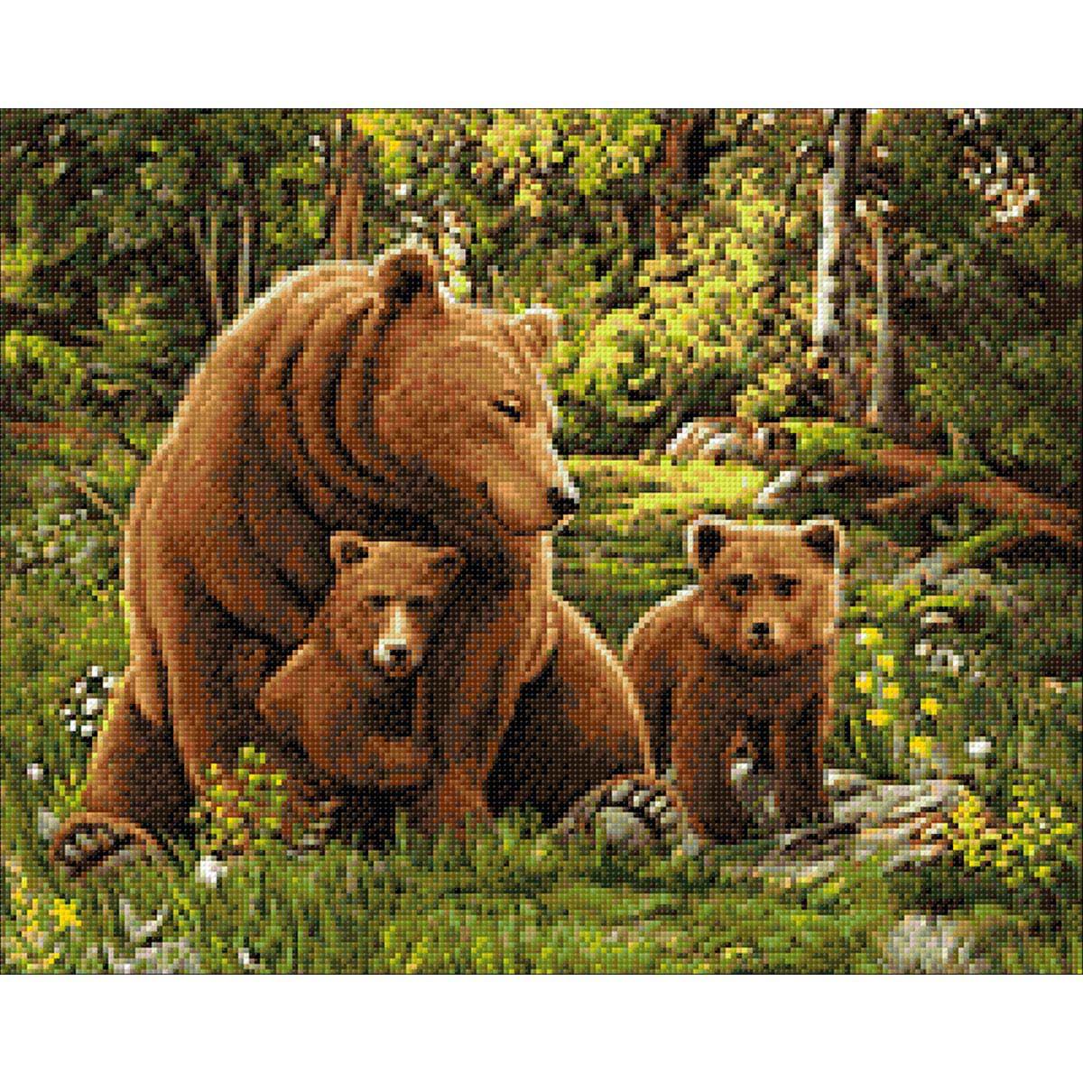 Ag 2690 Набор д/изготовления картин со стразами 'Медведица и мишки' 50*40см Гранни