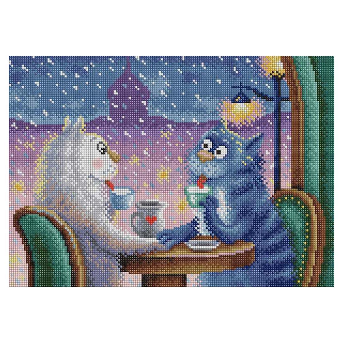 МС-071 Алмазная мозаика 'Свидание в кафе' 38*27 см Brilliart