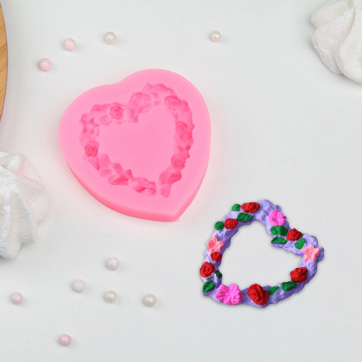 3624577 Молд 'Сердце в розочках', 7*7*1,3 см цвет МИКС