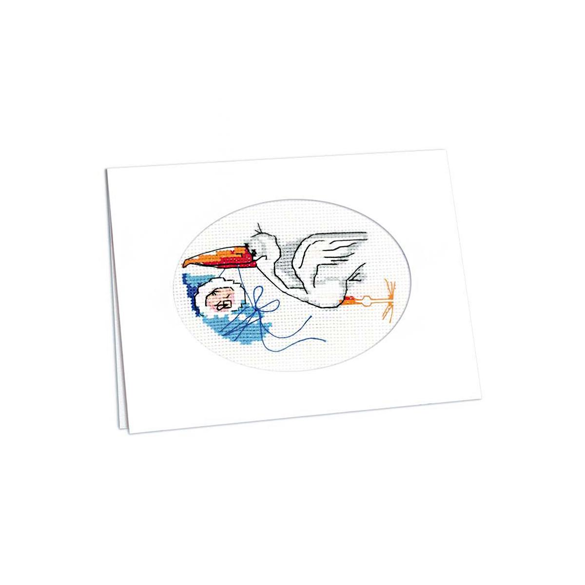 995 Набор для вышивания Riolis 'Открытка 'С новорождённым!', 11,8*16,4 см