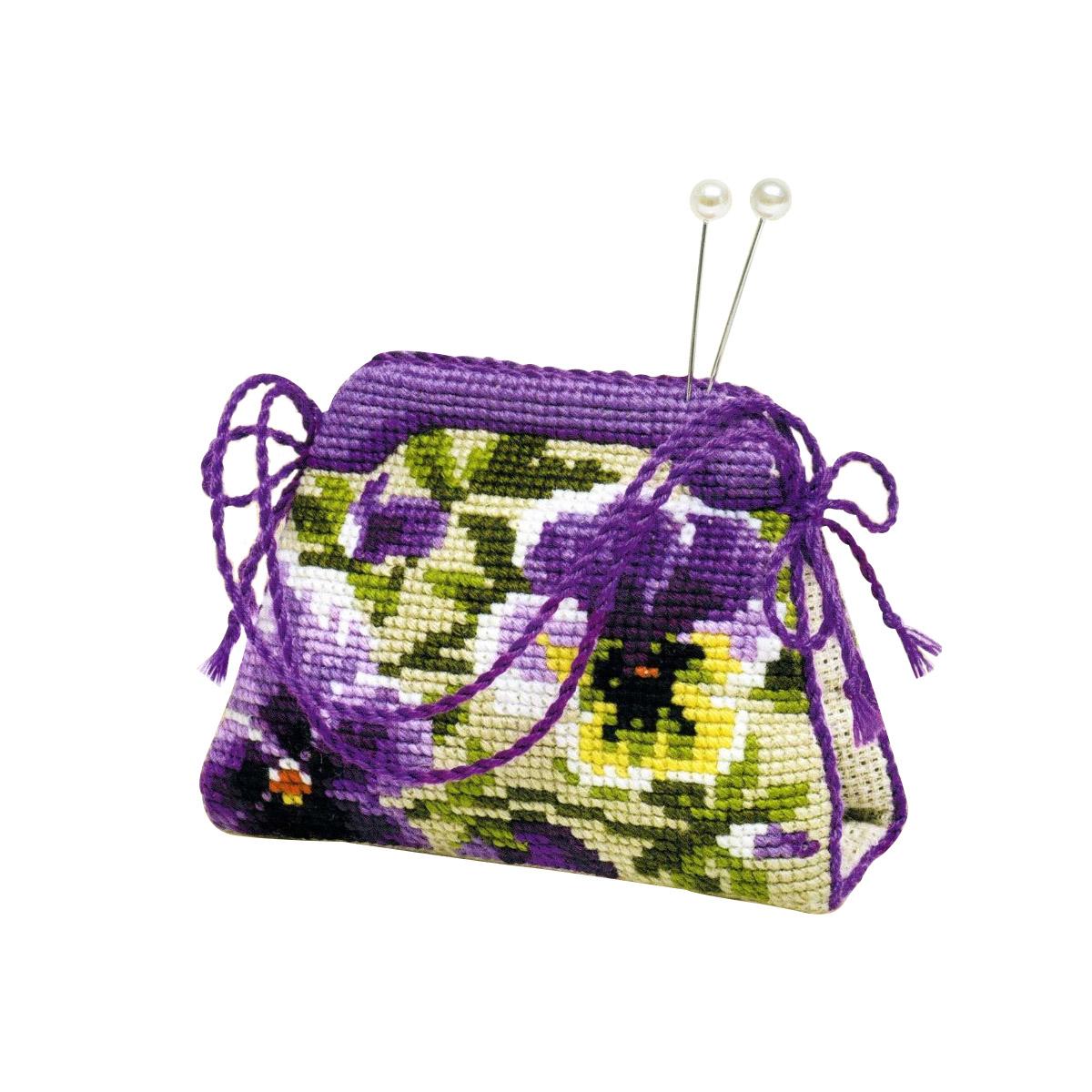 1039 Набор для вышивания Riolis 'Игольница-сумочка 'Анютины глазки', 11*8 см