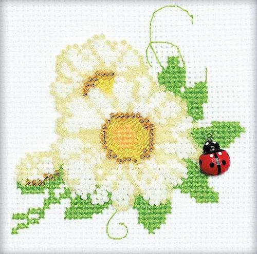 1174 Набор для вышивания бисером Riolis 'Цветочек', 10*10 см