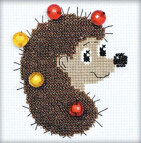 1175 Набор для вышивания бисером Riolis 'Ёжик с яблоками', 10*10 см