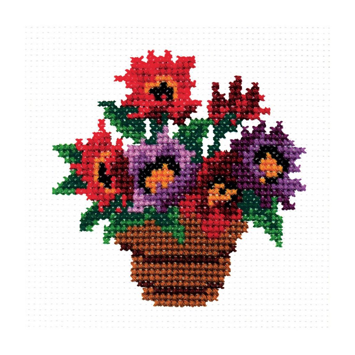 143 Набор для вышивания 'РС-Студия' 'Горшок с цветами', 10*11 см