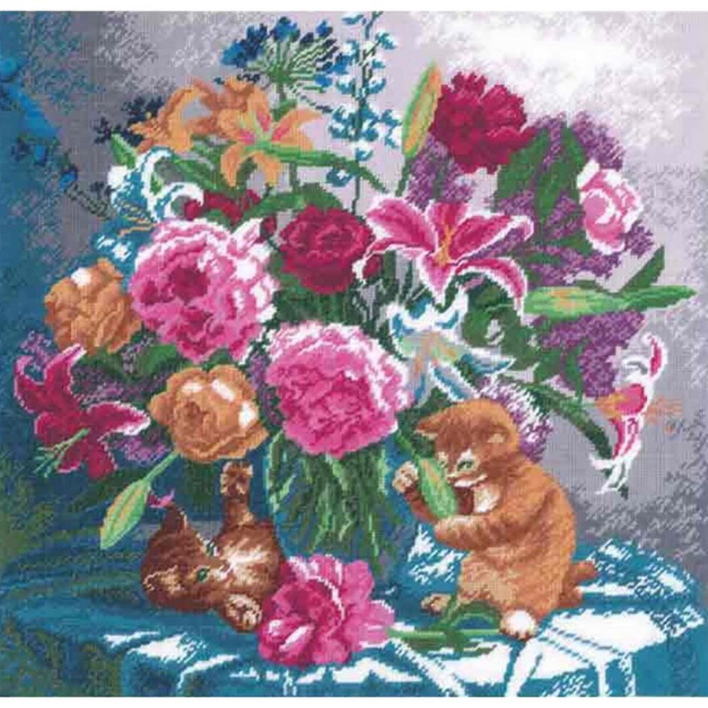 616 Набор для вышивания Hobby&Pro 'Лилии и пионы', 33*33,5 см