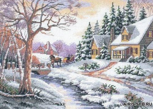 13691-DMS Набор для вышивания Dimensions 'Зимняя улица', 36х28 см