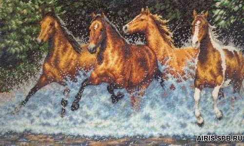 35214-DMS Набор для вышивания Dimensions 'Бегущие лошади', 46х25 см