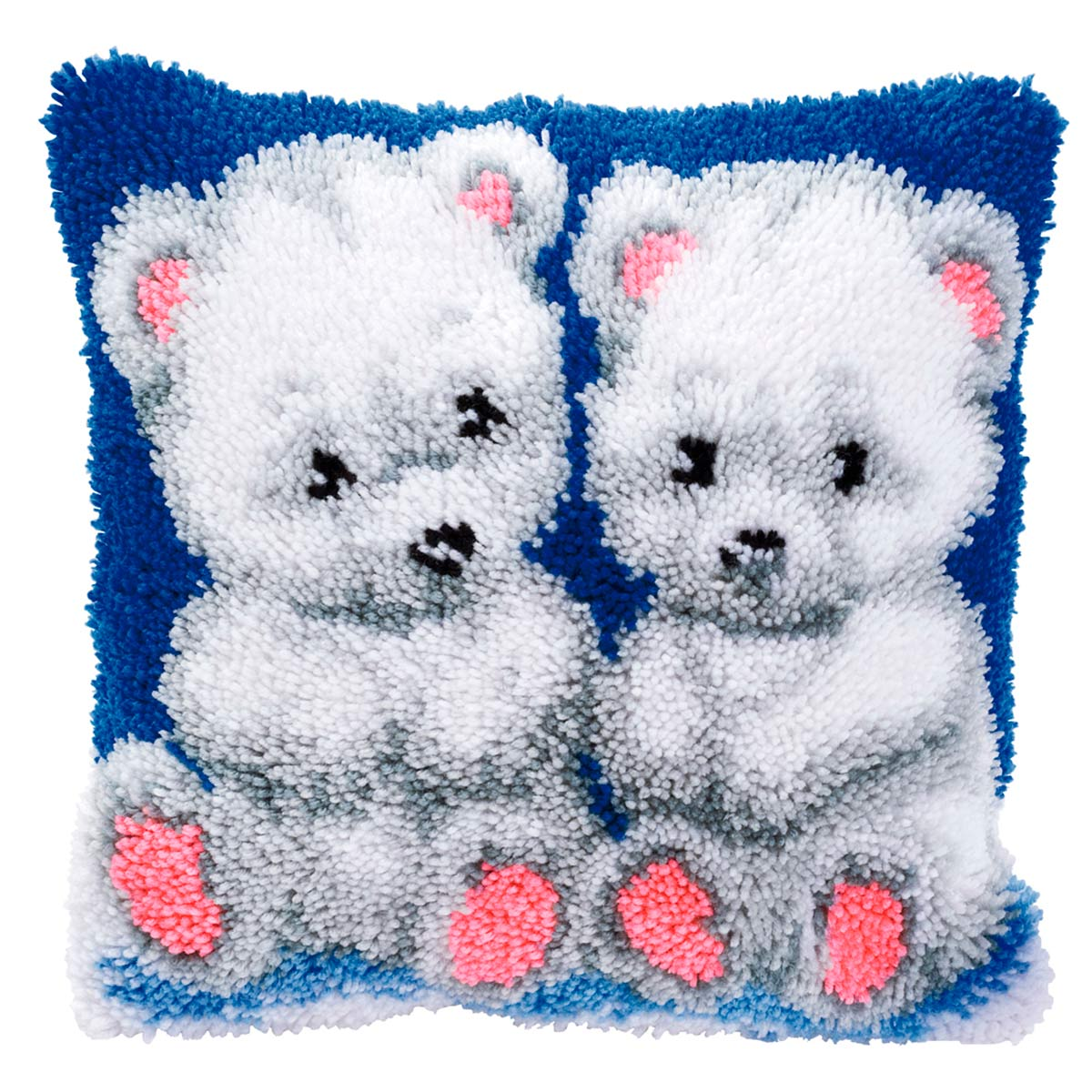 0014150-PN Подушка (ковровая техника) Vervaco 'Белые медвежата' 40x40см
