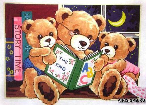 10451-CDA Канва с рисунком, Collection D`Art 'Сказка на ночь' 40*30 см