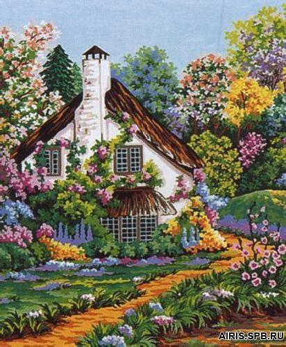 10219-CDA Канва с рисунком Collection D`Art 'Дом в цветах' 40*50 см