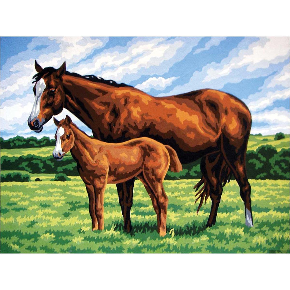 10423-CDA Канва с рисунком Collection D`Art 'Лошадь с жеребенком' 40*50 см