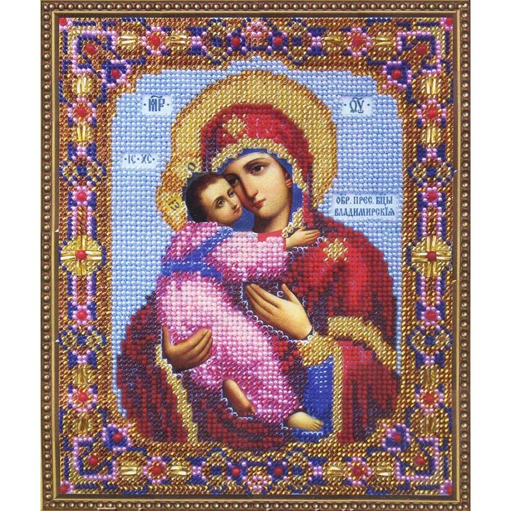 Б-1007 Набор для вышивания бисером 'Чарівна Мить' 'Икона Божьей Матери Владимирская', 15,5*18,8 см