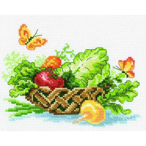 С104 Набор для вышивания RTO 'Корзина полная овощей', 18х15 см