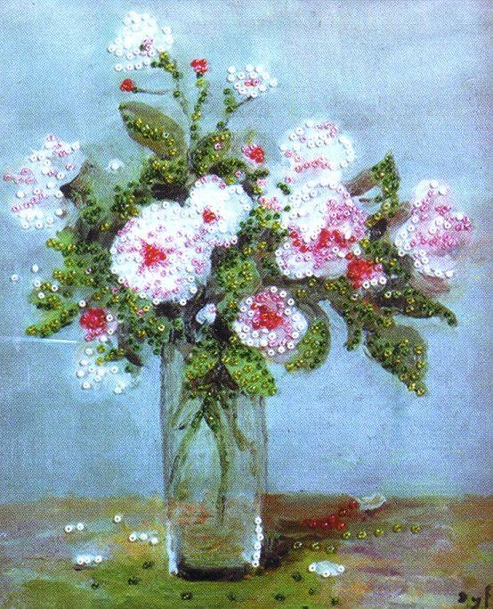 2397 Комплект для вышивания бисером Design Works 'Розовые розы' 21*25см
