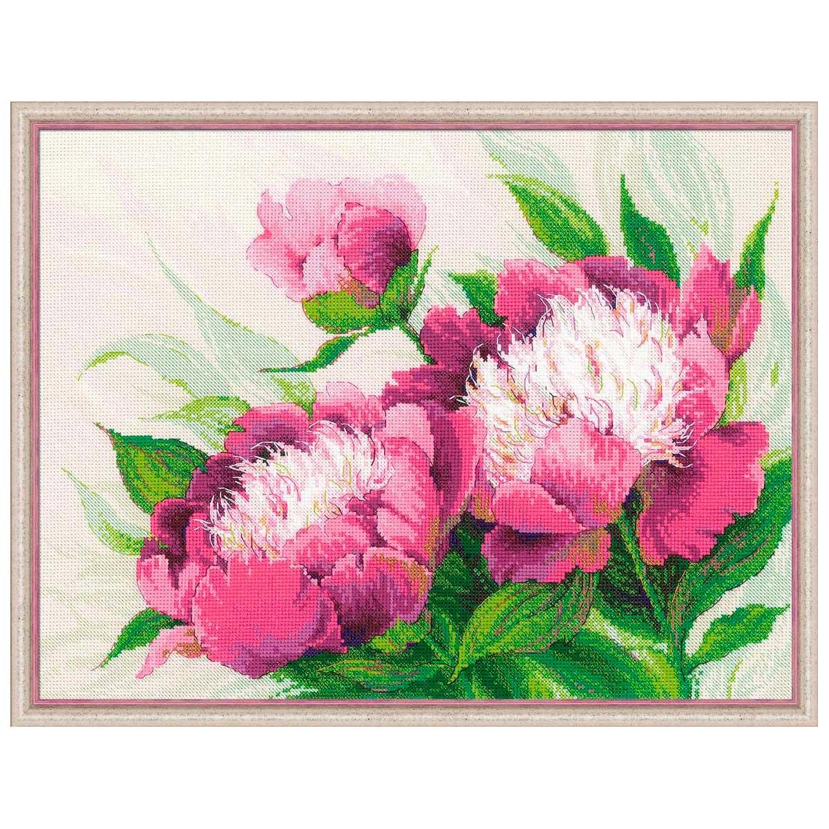 100/039 Набор для вышивания Riolis 'Розовые пионы', 40*30 см