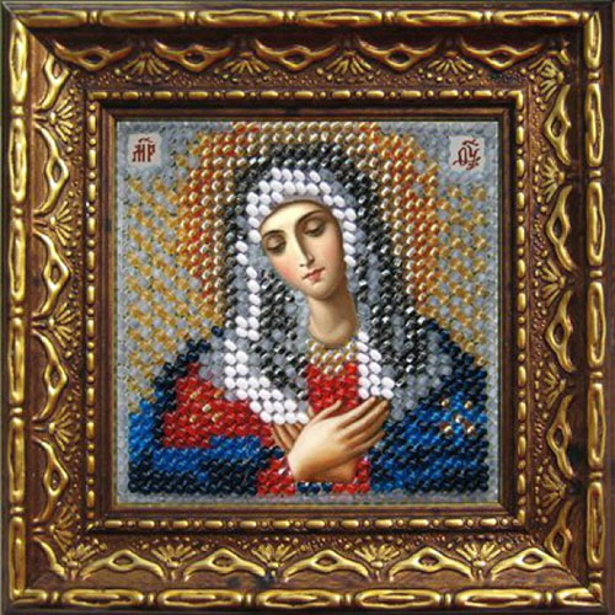 2068дПИ Набор для вышивания бисером 'Вышивальная мозаика' Икона 'Прсв. Богородица Умиление', 6,5*6,5 см фото