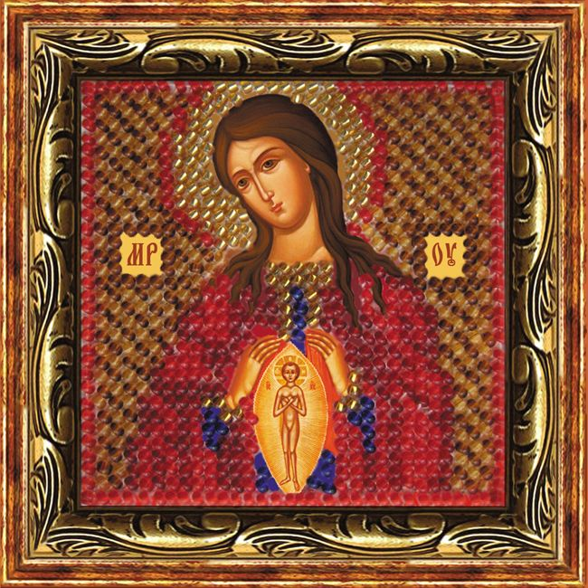 066ПМИ Набор для вышивания бисером 'Вышивальная мозаика' Икона Божией Матери 'Помощница в родах'', 6,5*6,5 см