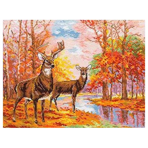 1-09 Набор для вышивания АЛИСА 'Олени в осеннем лесу' 36*27см