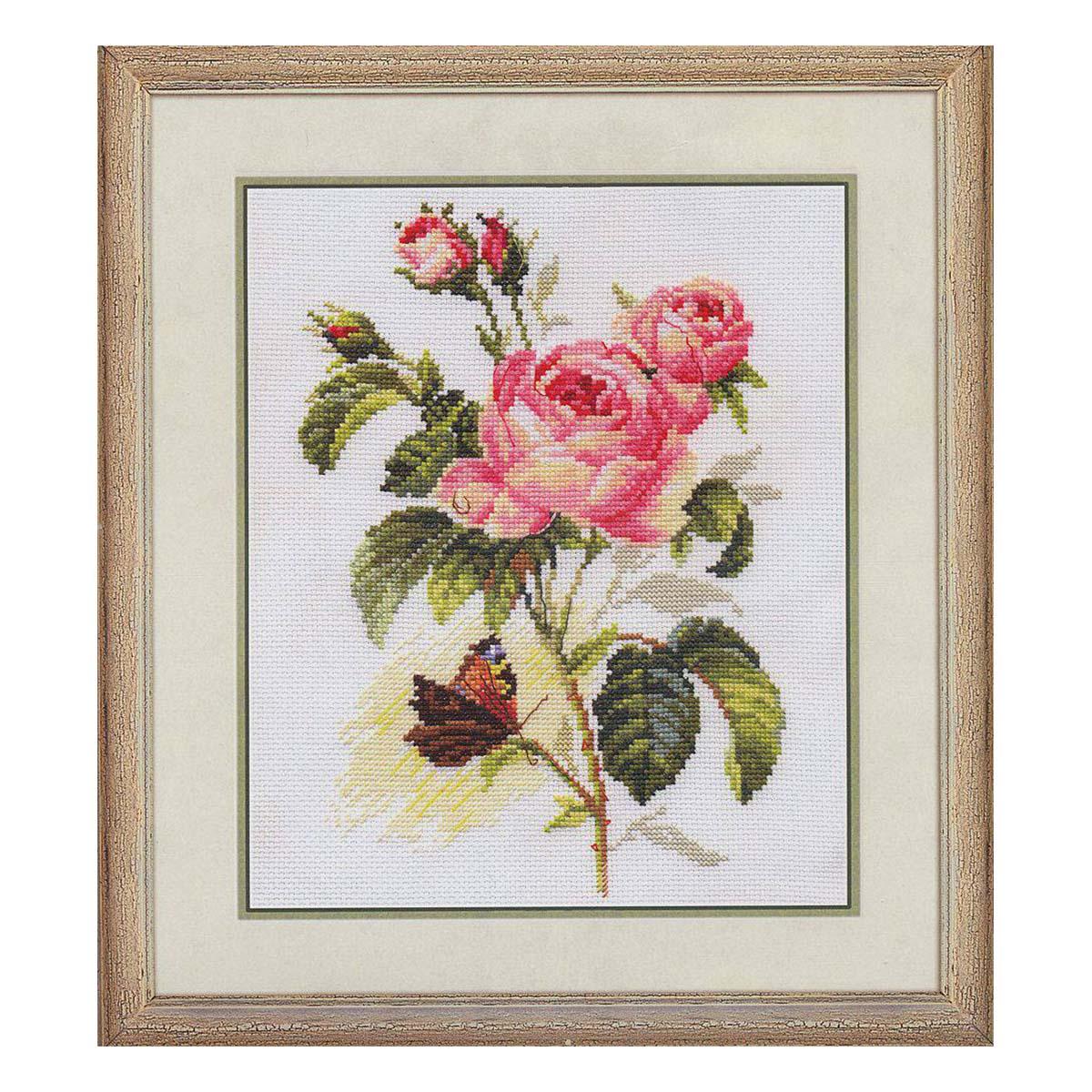 2-13 Набор для вышивания АЛИСА 'Роза и бабочка' 17*25см