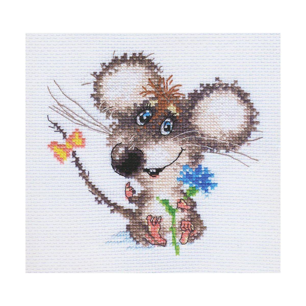 0-77 Набор для вышивания АЛИСА 'Влюбленный мышонок' 13*12см