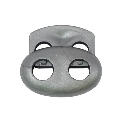 103-М Фиксатор (стопор) 'Овал' малый двухдырочный d=4мм, 14*17мм, ПП (серебро) фото