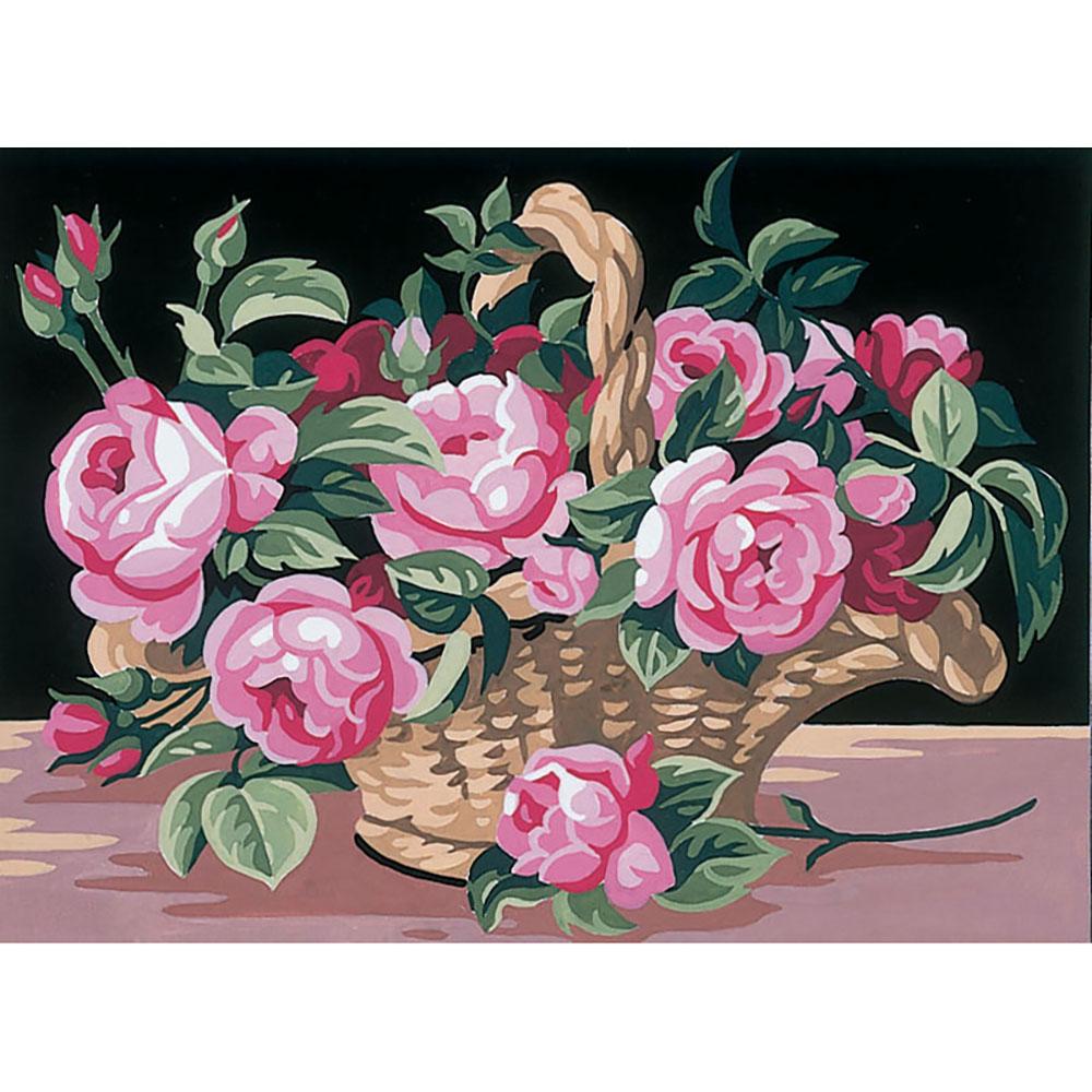 9880.0141.0118 Канва с рисунком Royal Paris 'Розы в корзине' 30*40 см