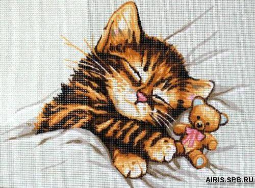 9880.0141.0101 Канва с рисунком Royal Paris 'Спящий котенок' 30*40 см