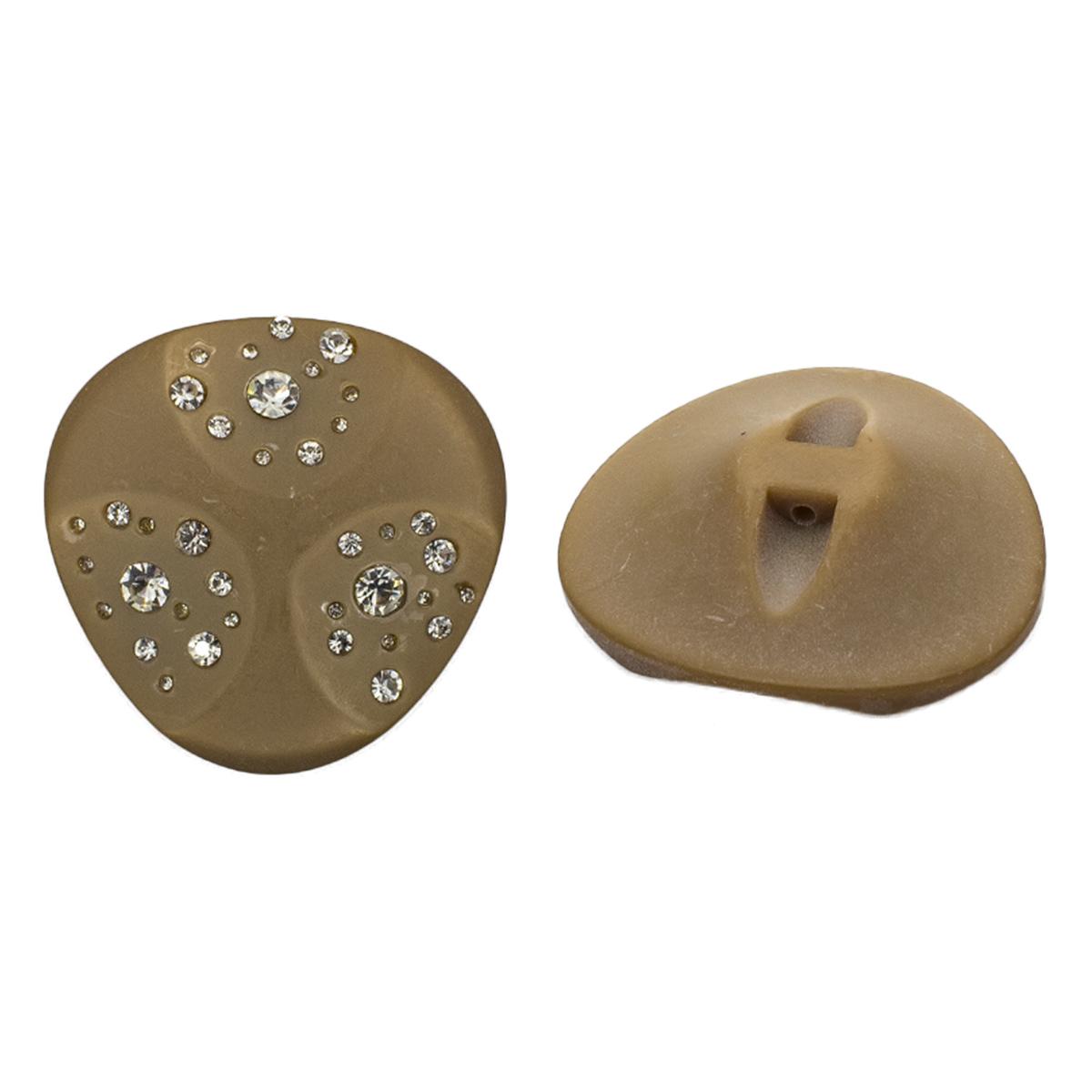 Пуговица пальтовая со стразами на ножке (пластик) 676415 (коричневый) фото