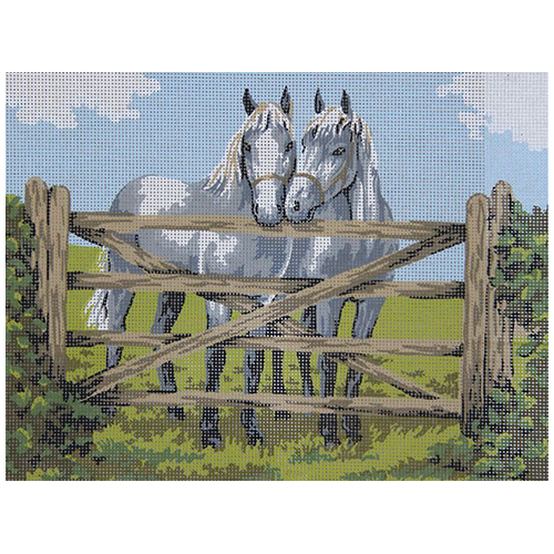 10253-CDA Канва с рисунком Collection D`Art 'Пара лошадей' 40*50 см