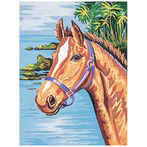 10322-CDA Канва с рисунком Collection D`Art 'Конь' 40*50 см
