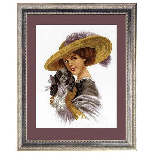 601 Набор для вышивания Hobby&Pro 'Дама с собачкой', 37*26 см