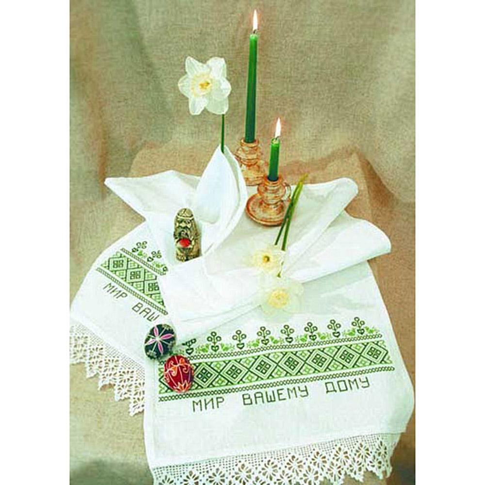 004 (П) Набор для вышивания 'Овен' Рушник 'Мир вашему дому', 160х40 см