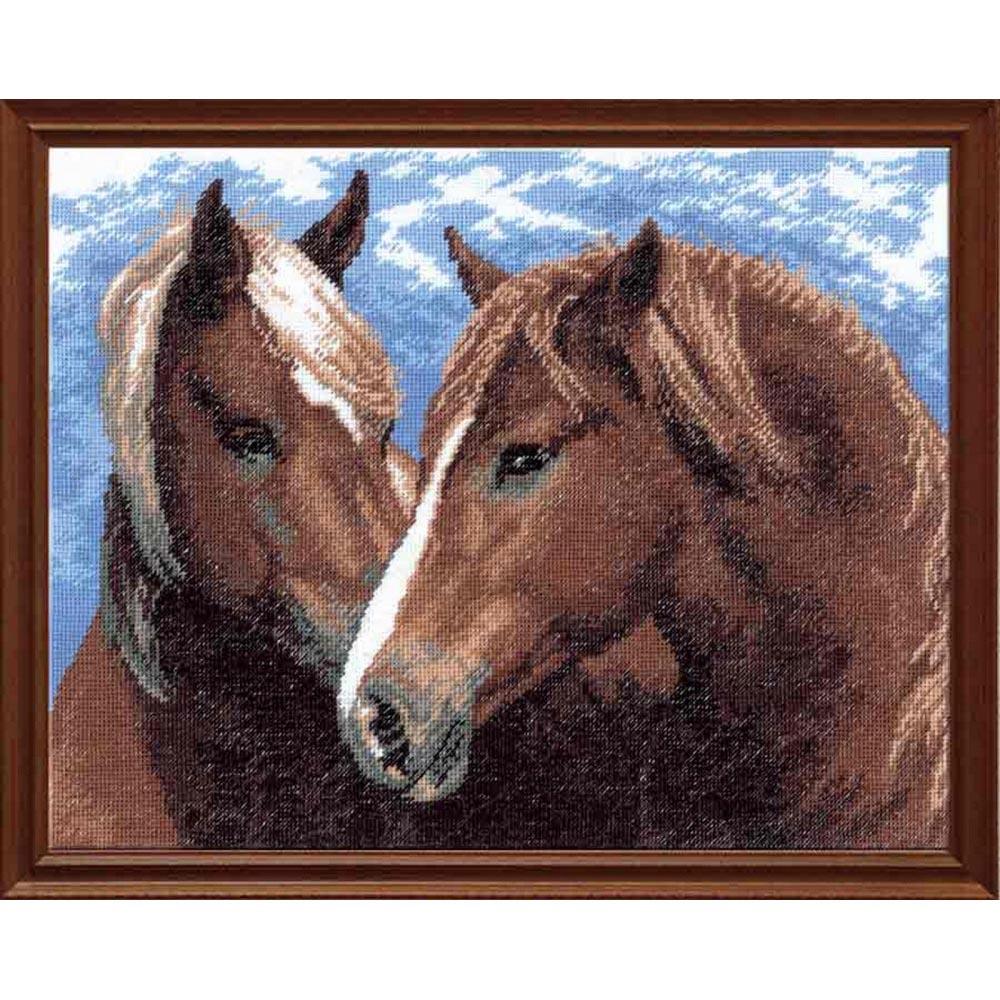 605 Набор для вышивания Hobby&Pro 'Пара лошадей', 30*22 см