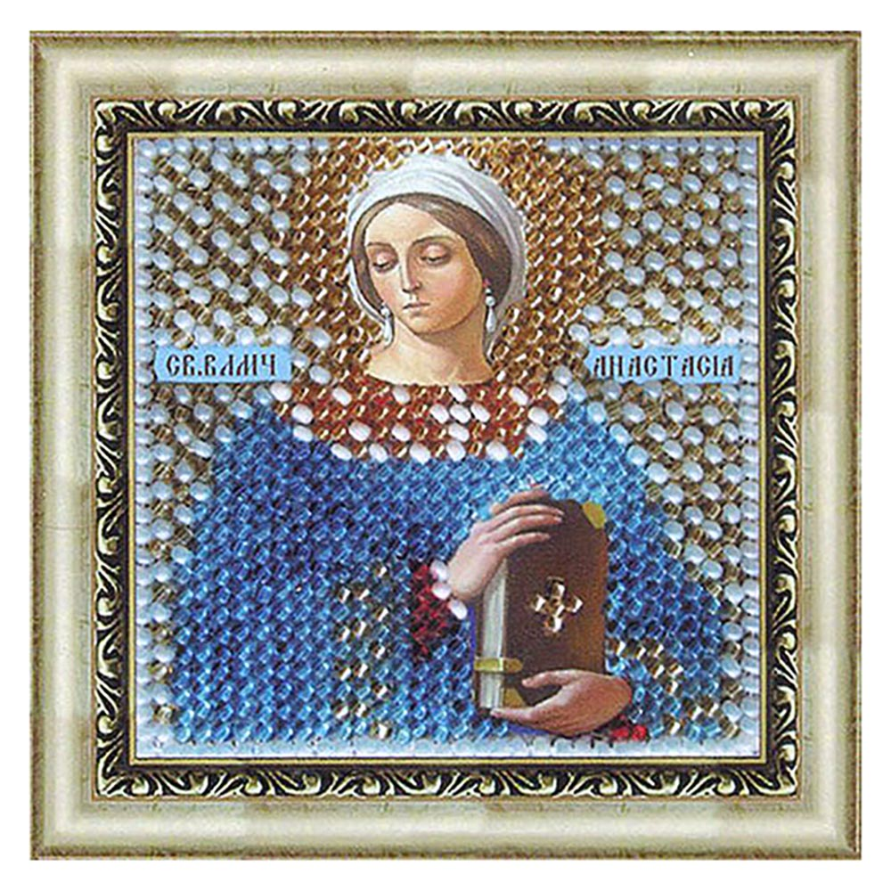 042ПМИ Набор для вышивания бисером 'Вышивальная мозаика' Икона 'Св.Великомученица Анастасия Узорешительница', 6,5*6,5 см