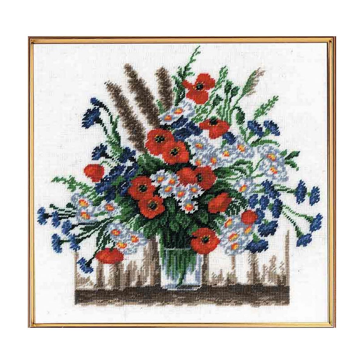 607 Набор для вышивания Hobby&Pro 'Летние цветы', 25*25 см