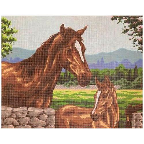 11494-CDA Канва с рисунком Collection D`Art 'Лошадки' 50*60 см